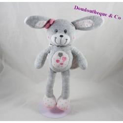 Doudou lapin ange TAPE A L'OEIL gris rose ailes coeur pois 30 cm