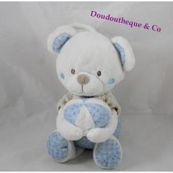 Peluche musicale ours MOTS D'ENFANTS balle bleu blanc beige 25 cm