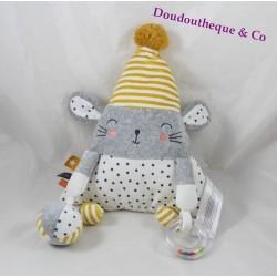 Awakening stuffed mouse TAPE A L'OEIL TAO stripes grey yellow white star 35 cm