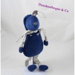 Doudou lapin BOUT'CHOU bleu foncé gris tissu étoiles Monoprix 33 cm