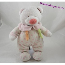 Peluche ours GIPSY coeur rose blanc 31 cm