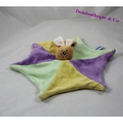 Doudou plat lapin NOUNOURS forme étoilée violet jaune 30 cm