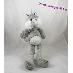 Peluche husky chien RODADOU gris blanc noir loup 39 cm
