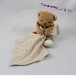 Doudou mouchoir ours DOUDOU ET COMPAGNIE bio marron beige 17 cm