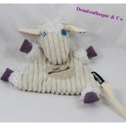 Doudou plat Poilodos mouton LES DEGLINGOS chèvre beige 26 cm