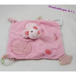 Doudou d'activité plat souris BABY NAT' rose motifs ronds 24 cm