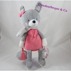 Doudou d'activités lapin TEX rose gris ballon anneau 30 cm