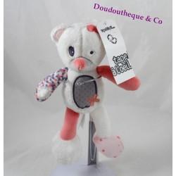 Doudou Gatine oursonne TAPE A L'ŒIL rose saumon étoiles 22 cm