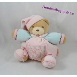 Doudou ours KALOO Liliblue coeur bras bleu rose patapouf 20 cm