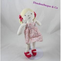 Doudou Tilda doll OBAÏBI girl blonde dress floral comforters 27 cm