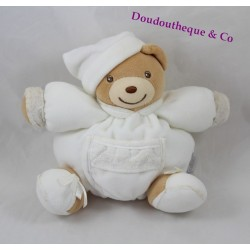 Doudou boule ours KALOO Dragée blanc broderies poche 18 cm