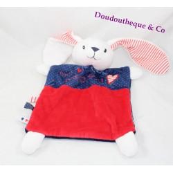 Doudou plat lapin MOTS D'ENFANTS rouge bleu Tout petit bisou 29 cm