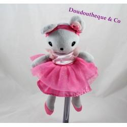 Doudou souris H&M robe tutu rose danseuse ballerine 25 cm