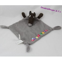 Doudou flat Wolf AUZOU P' puddin nodes grey 29 cm