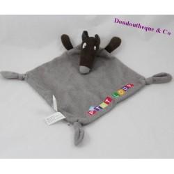 Doudou plat loup AUZOU P'tit loup gris noeuds 29 cm