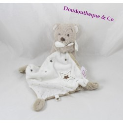 Blankie bear CHEEKBONE handkerchief star white Mole Intermarché 34 cm