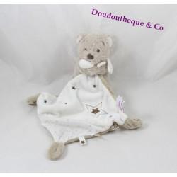 Doudou ours POMMETTE mouchoir étoile blanc taupe Intermarché 34 cm