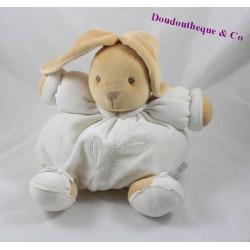 Doudou patapouf lapin KALOO Dragée feuilles blanc 22 cm