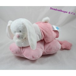 Peluche musicale lapin TEX BABY rose couché nuage pois Carrefour 28 cm