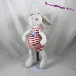 Doudou lapin TAPE A L'OEIL Tao rouge rayures short rose pois 30 cm