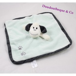 Dog flat Doudou ZEEMAN square green footprints Bell 26 cm