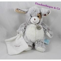 Doudou mouchoir chien BABY NAT' Les Flocons BN052 blanc marron 21 cm