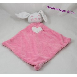 Doudou rabbit flat TAPE A L'OEIL Tao Ninou pink heart diamond 37 cm