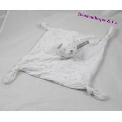 Doudou plat ours LULU CASTAGNETTE blanc rose étoile 4 noeuds 22 cm