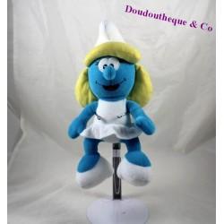 Peluche Schtroumpfette bleu robe blanche 30 cm