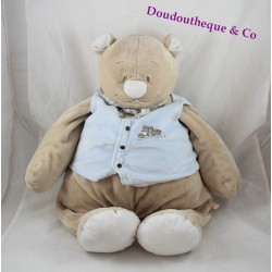 Large plush bear Nouky NOUKIE's Oscar and Leon jacket 55 cm Blue train