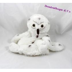 Doudou marionnette chouette CREATIONS DANI hibou blanc marron 24 cm
