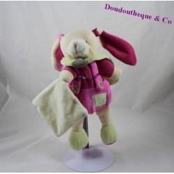 Doudou mouchoir lapin BABY NAT' Les mem pacap rose vert 24 cm