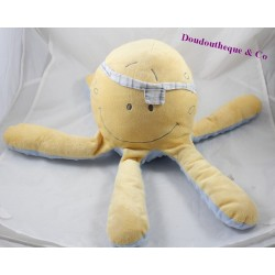 Stuffed Octopus NOUKIE's Bill and Bono yellow blue pirate 40 cm