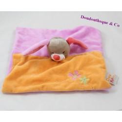 Doudou plat Lapin DOUKIDOU Charlotte violet orange rouge fleurs 25 cm