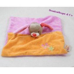 Doudou flat rabbit DOUKIDOU Charlotte purple orange red flowers 25 cm