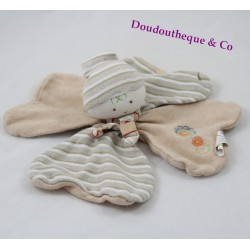 Doudou flat boy Elf D'AMOUR DODO beige striped flowers MGM 25 cm