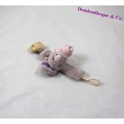 Attache sucette souris NOUKIE'S Nina, Kali et Kenza violet 18 cm