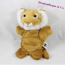 Doudou marionnette tigre AUSYCOMORE beige 25 cm