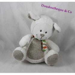 Peluche mouton NICOTOY blanc beige laine écharpe multicolore 21 cm