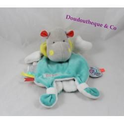 Doudou cape hippopotame DOUDOU ET COMPAGNIE Tatoo vert blanc