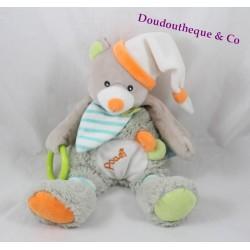 Peluche d'activités Oscar ours BABY NAT' Oscar l'ourson gris orange 26 cm