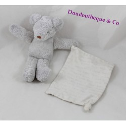 Doudou mouchoir souris BABY DIOR gris 17 cm