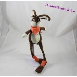 Doudou lapin LES PETITES MARIE marron orange longues jambes carotte 31 cm