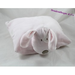 Doudou cushion dog OBAÏBI blue black eye white plush transformable 30 cm