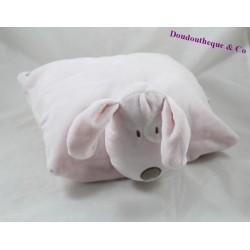 Peluche coussin chien OBAIBI rose cocard blanc OB 30 cm
