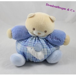 Doudou boule chat KALOO Blue souris bleu blanc 18 cm