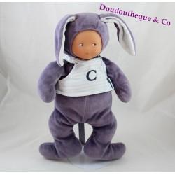 Doll t-shirt mauve COROLLA rabbit letter C 32 cm