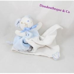 Doudou mouchoir souris SUCRE D'ORGE bleu blanc noeud bleu poche 40 cm