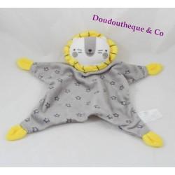 Doudou plat lion ZEEMAN étoiles gris jaune grelot 30 cm