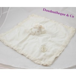 Doudou plat lapin NATURES PUREST carré beige blanc 35 cm